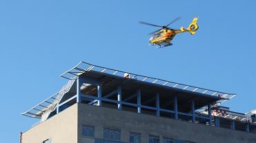 Pierwsze lądowanie śmigłowca LPR na dachu Szpitala Śląskiego w Cieszynie