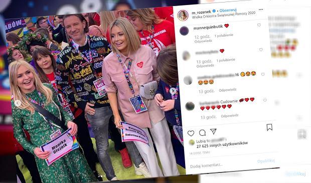 Małgorzata Rozenek z piękną torebką podczas finału WOŚP. Fanka: Nie noś jej tak, to może zaszkodzić dziecku