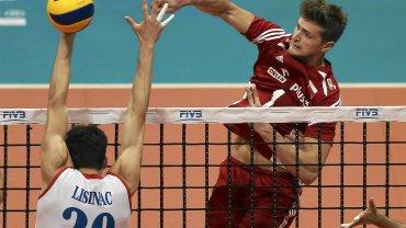 Serbia - Polska. Srecko Lisinac i Piotr Nowakowski