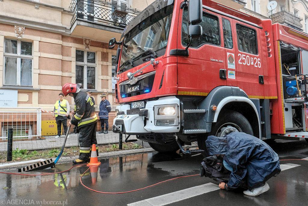 Akcja straży pożarnej na poznańskich Jeżycach