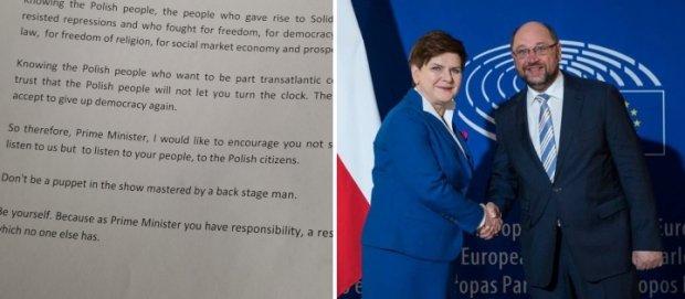 Fragment wystąpienia Guya Verhofstadta/ Beata Szydło i Martin Schulz