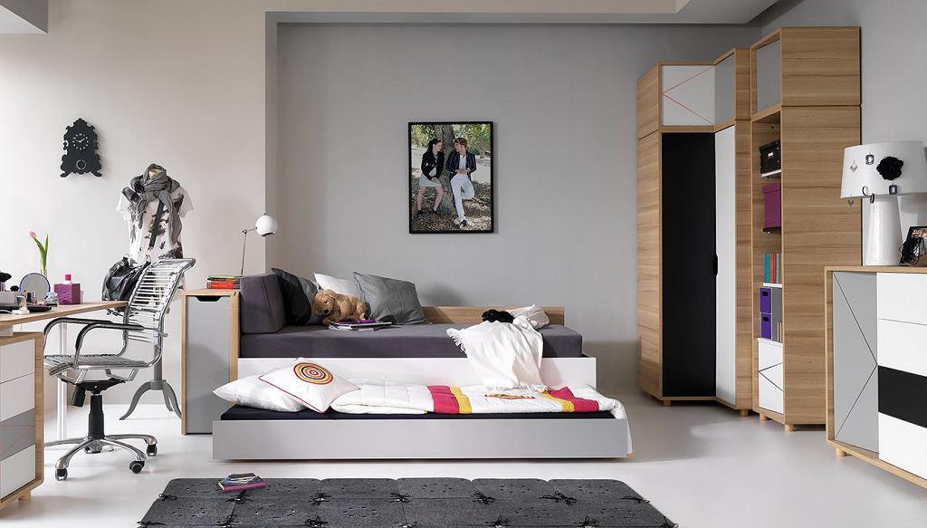 Łóżko młodzieżowe rozkładane, z wysuwanym elementem z serii Young Vox