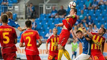 Lech Poznań - Korona Kielce 0:0. Sierhij Pyłypczuk, Kamil Sylwestrzak, Piotr Malarczyk, Marcin Robak, Vladislavs Gabovs
