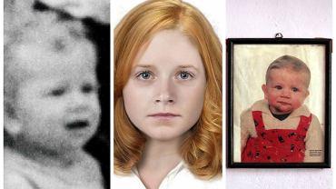 Zaginiona Monika Bielawska. Zdjęcia, którymi dysponowała policja (z prawej i z lewej), oraz policyjna progresja wiekowa zaginionej dziewczynki do 17 lat