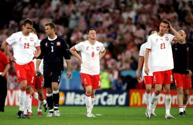 Poland's players react after their Group B Euro 2008 soccer match defeat to Croatia at the Woerthersee Stadium in Klagenfurt in this June 16