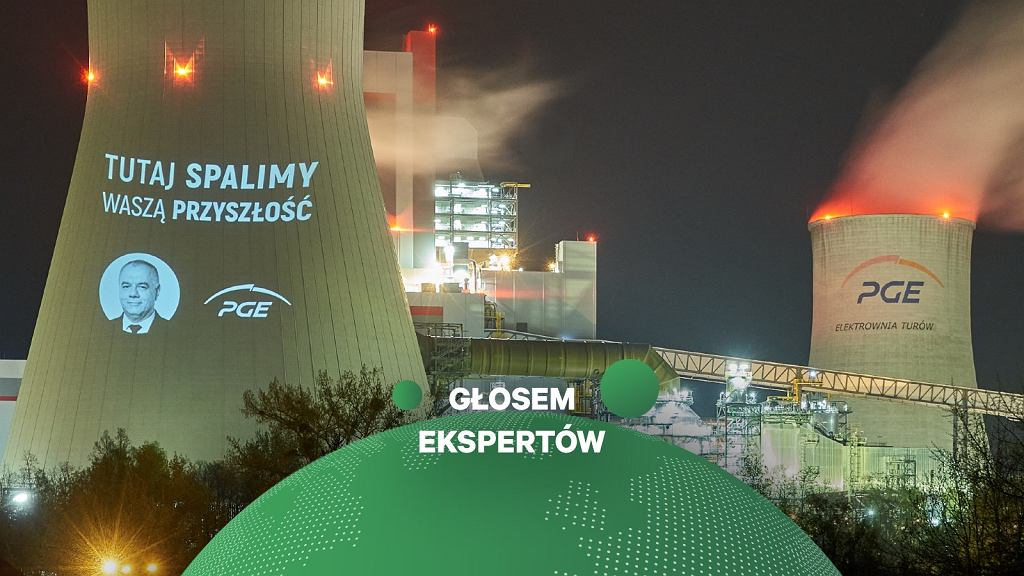 Tutaj spalimy waszą przyszłość - projekcja aktywistek i aktywistów Greenpeace na nowym bloku w elektrowni Turów, 11.05.2021