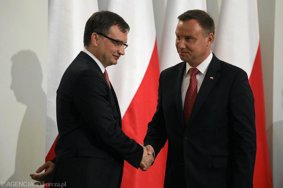 30.07.2018 Warszawa , Pałac Prezydencki . Prezydent RP Andrzej Duda , minister sprawiedliwości Zbigniew Ziobro