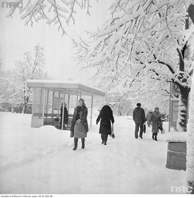 Przystanek autobusowy linii 106 i 406 przy ul. Królewskiej. Zdjęcie zrobiono w 1977 albo 1978 roku