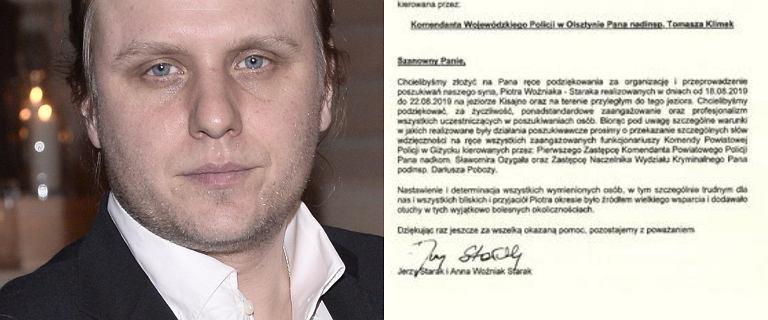 Rodzice Piotra Woźniaka-Staraka wydali oświadczenie. Podziękowali służbom za pomoc