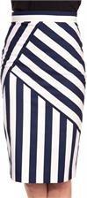Biała, ołówkowa spódnica w granatowe pasy