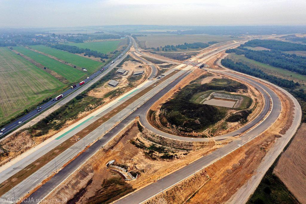 Autostrada A1, okolice węzła 'Częstochowa Północ', 25 września 2019 r. W tym miejscu obwodnica Częstochowy będzie się łączyła z DK1