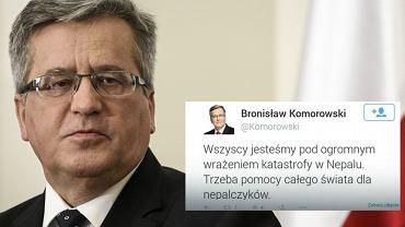 """Bronisław Komorowski łączył się już kiedyś w """"bulu i nadzieji"""". To nie jedyny błąd ortograficzny, jaki popełnił prezydent. """"Nepalczycy"""" powinni być napisani z wielkiej litery, tak jak Polacy."""