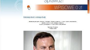 Informacja o sukcesie Andrzeja Dudy na stronie uczelni
