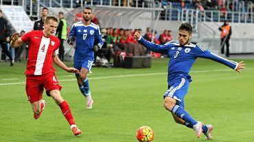 Polska U-21 - Izrael U-21 3:1 w meczu towarzyskim w Lublinie. Tomasz Kędziora z Lecha Poznań