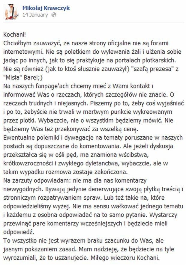 Komentarze Mikołaja Krawczyka