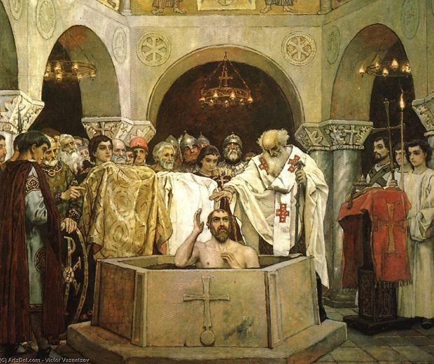 Chrzest wielkiego księcia kijowskiego Włodzimierza Wielkiego przedstawiony przez Wiktora Wasniecowa na projekcie fresku z 1890 r. dla katedry św. Włodzimierza w Kijowie. Malowidło znajduje się w Galerii Trietiakowskiej w Moskwie. Legenda głosi, że książę, zanim w 988 r. ochrzcił się w Chersonezie na Krymie w obrządku Kościoła wschodniego, rozważał przyjęcie innej wiary, m.in. judaizmu.