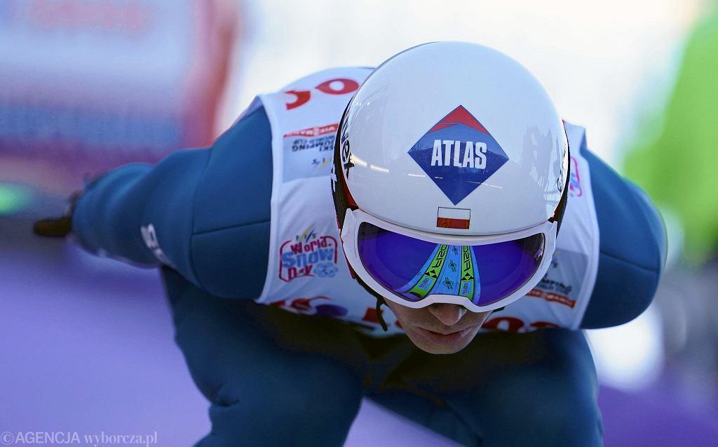 Kamil Stoch podczas zawodów Pucharu Świata w Wiśle