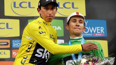 Egan Arley Bernal Gomez i Michal Kwiatkowski na podium wyścigu Paryż-Nicea