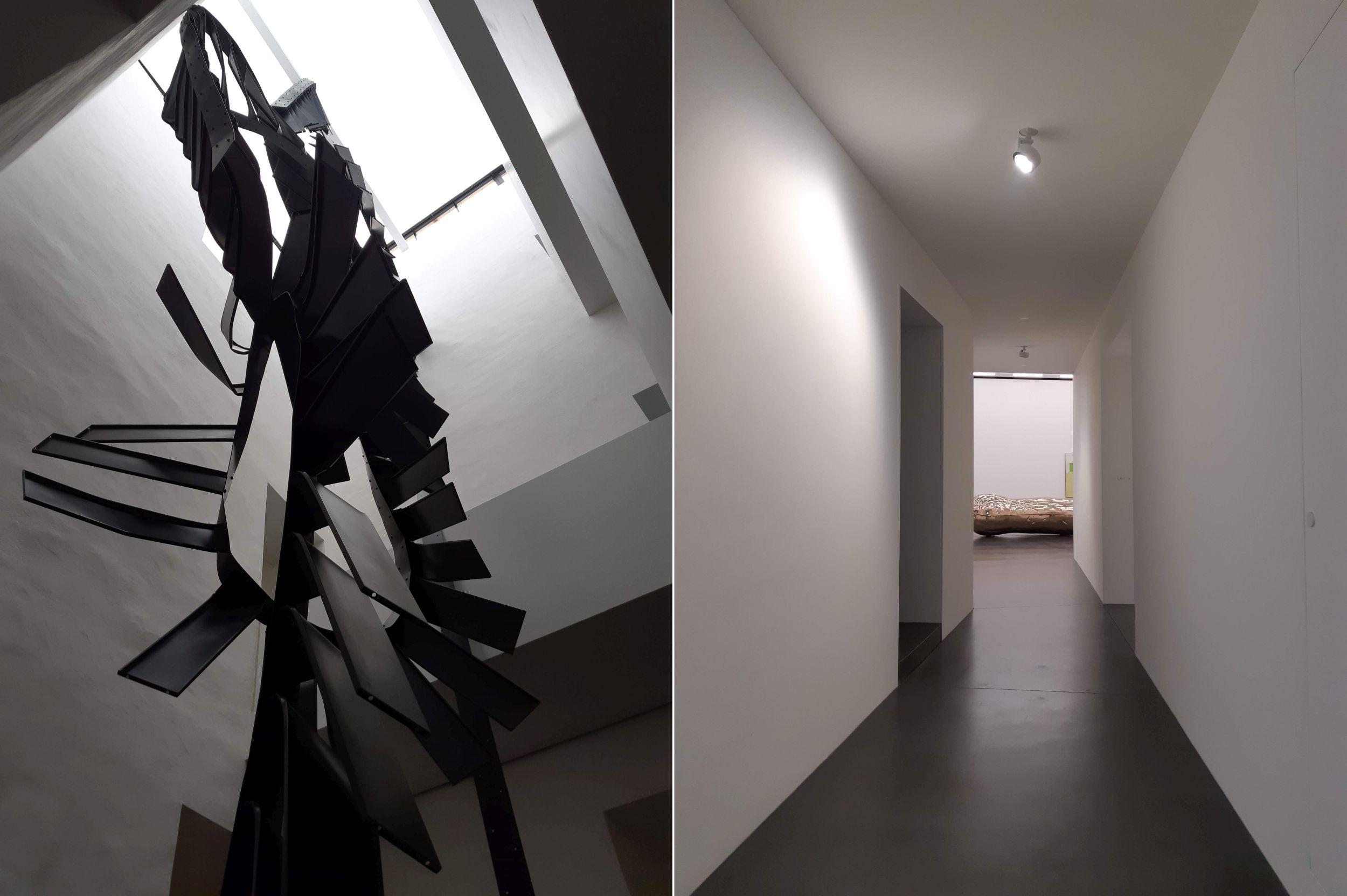 Muzeum Susch. Po lewej 14-metrowa rzeźba Moniki Sosnowskiej, którą można oglądać z czterech poziomów i z każdego wygląda inaczej