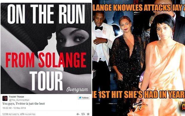 Po after party po gali MET w Nowym Jorku Solange Knowles rzuciła się z pięściami na Jaya Z. Wszystko zarejestrowała kamera przemysłowa, a nagranie wyciekło do mediów w poniedziałek. Internauci już zareagowali na zajście, tworząc memy. Zobaczcie najlepsze z nich.
