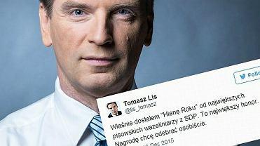 """Tomasz Lis otrzymał """"Hienę Roku 2015""""."""