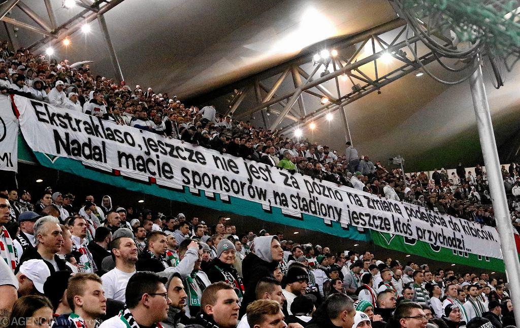 Transparent podczas meczu Legia - Jagiellonia