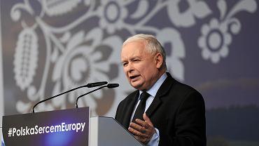 Piknik Patriotyczny PiS w Domu Polonii w Pułtusku, 4 maja, przemawia Jarosław Kaczyński.