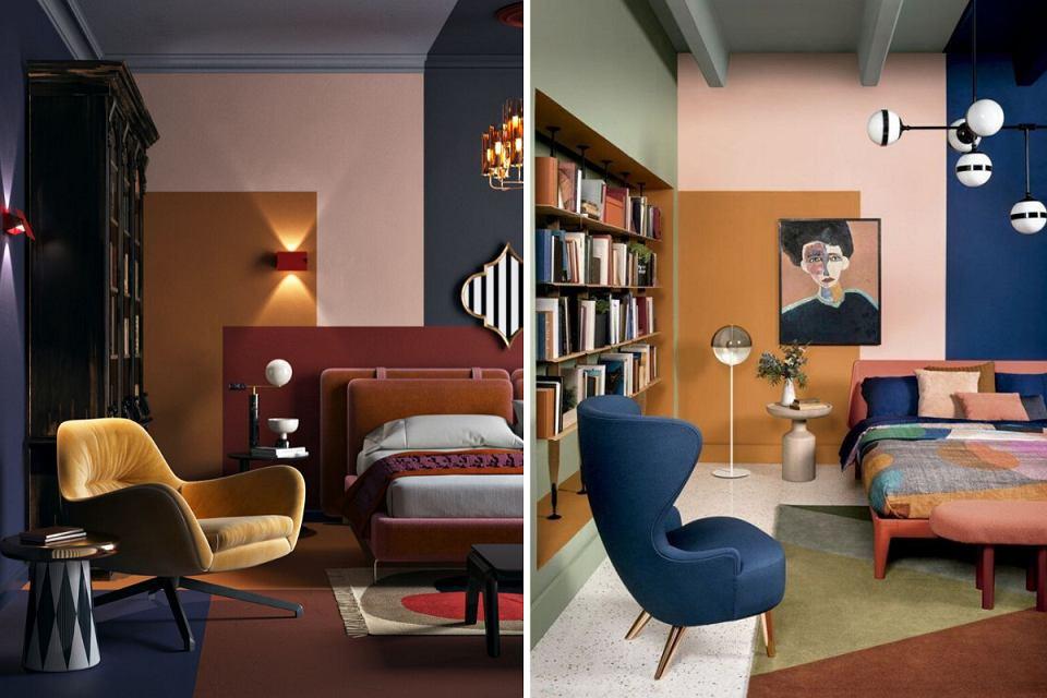 Color blocking w sypialni.