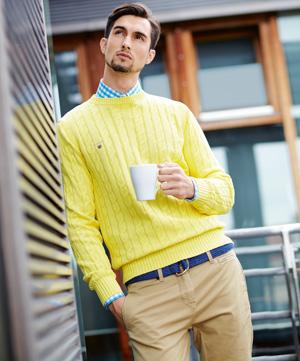 Moda męska - casual friday, styl, moda męska, sweter Gant  koszula  Hugo Boss/van Graaf  spodnie  Zara pasek  Beneton