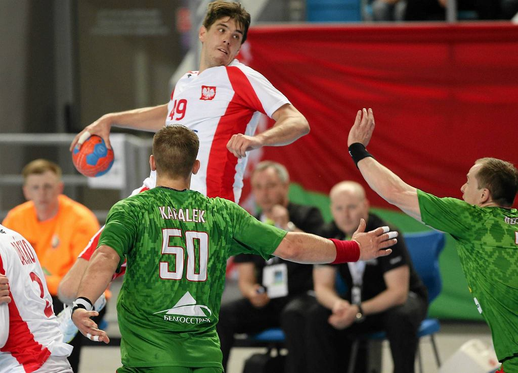 Piotr Chrapkowski podczas meczu Polska - Białoruś