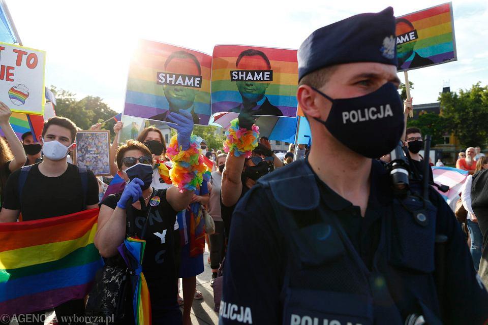 Protest na spotkaniu z Andrzejem Dudą w Tomaszowie Mazowieckim