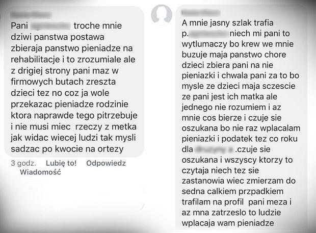 Wybrane komentarze pojawiające się na profilu matki, która wychowuje niepełnosprawne dzieci