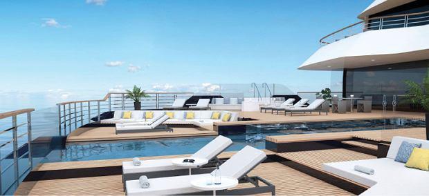 Statek wycieczkowy Ritz-Carlton Yacht Collection - wizualizacja. To tylko artystyczna koncepcja. Ritz-Carlton Yacht Collection może zmienić plany, wyposażenie i wygląd statku.