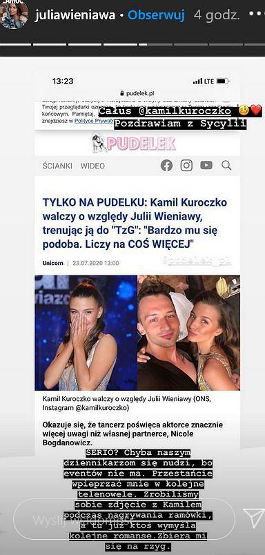 Julia Wieniawa komentuje doniesienia o Kamilu Kuroczko