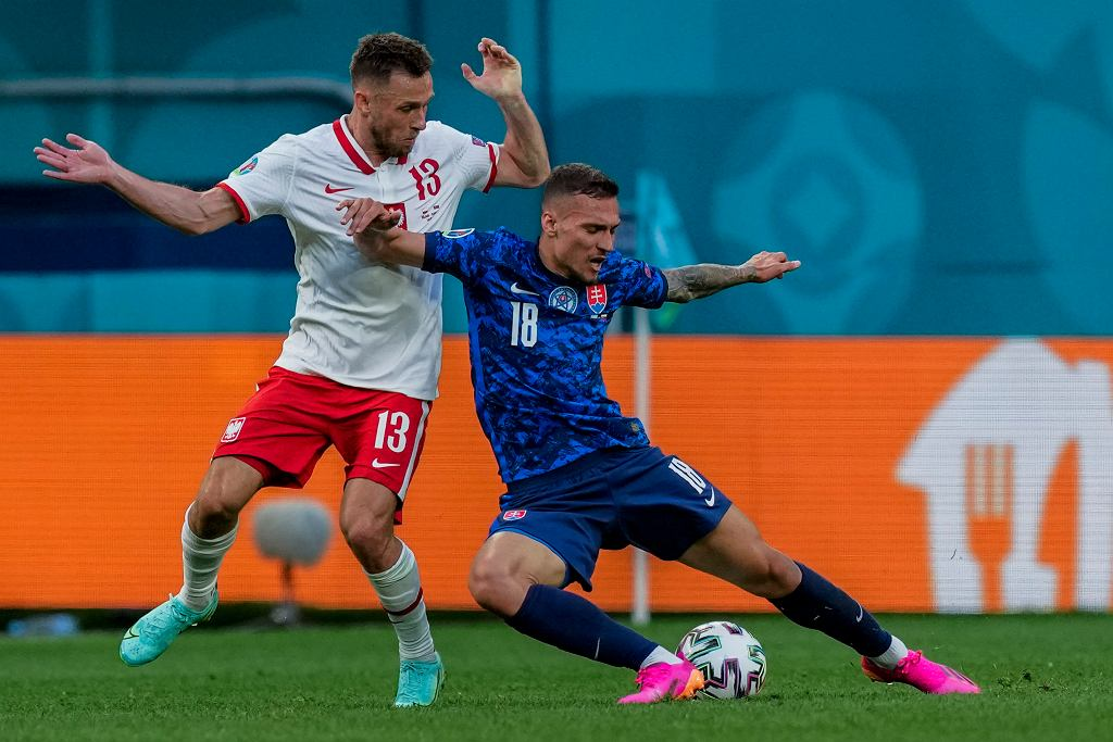 Maciej Rybus podczas meczu Polska - Słowacja na Euro 2020. St. Petersburg, 14 czerwca 2021