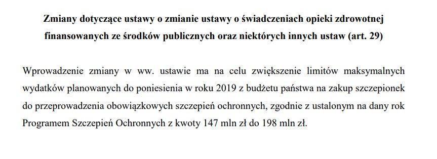 Fragment projektu ustawy