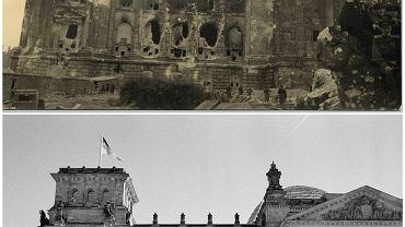 Porównanie zdjęć Berlina zniszczony w 1945 roku i współczesnych