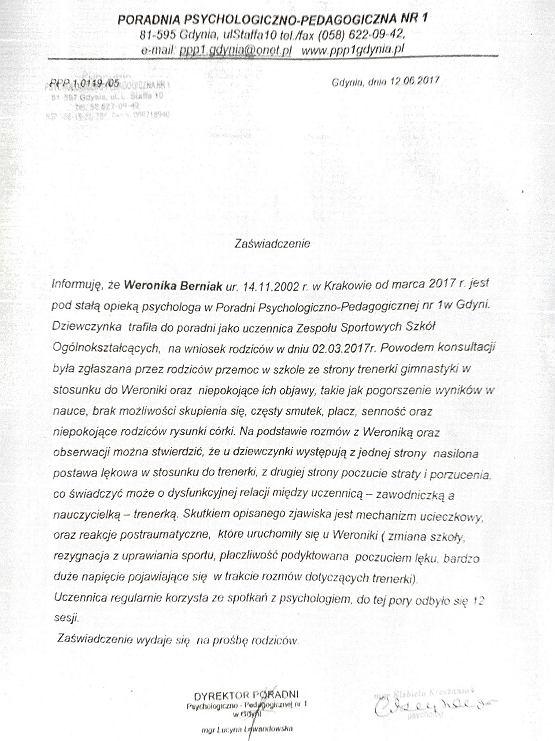 Weronika Berniak, zaświadczenie z poradni psychologiczno-pedagogicznej