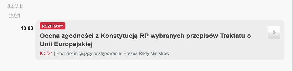 Trybunał Konstytucyjny zajmie się wnioskiem premiera Mateusza Morawieckiego dopiero w sierpniu