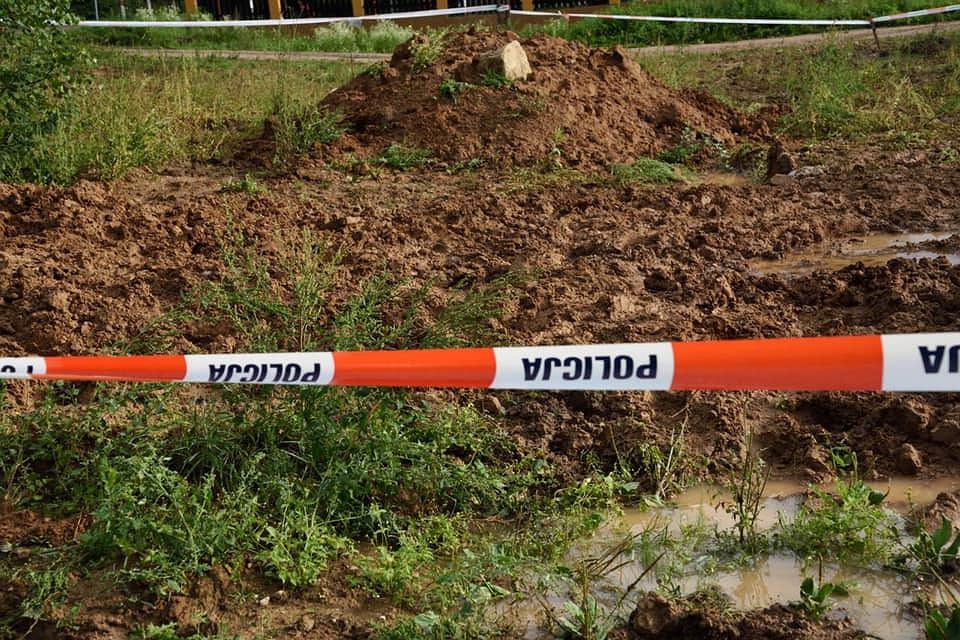Miejsce, w którym znaleziono szczątki ludzkie