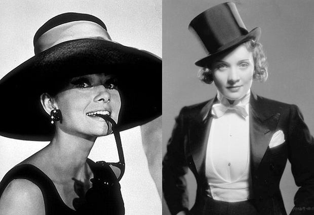 Audrey Hepburn i Marlene Dietrich w kapeluszach
