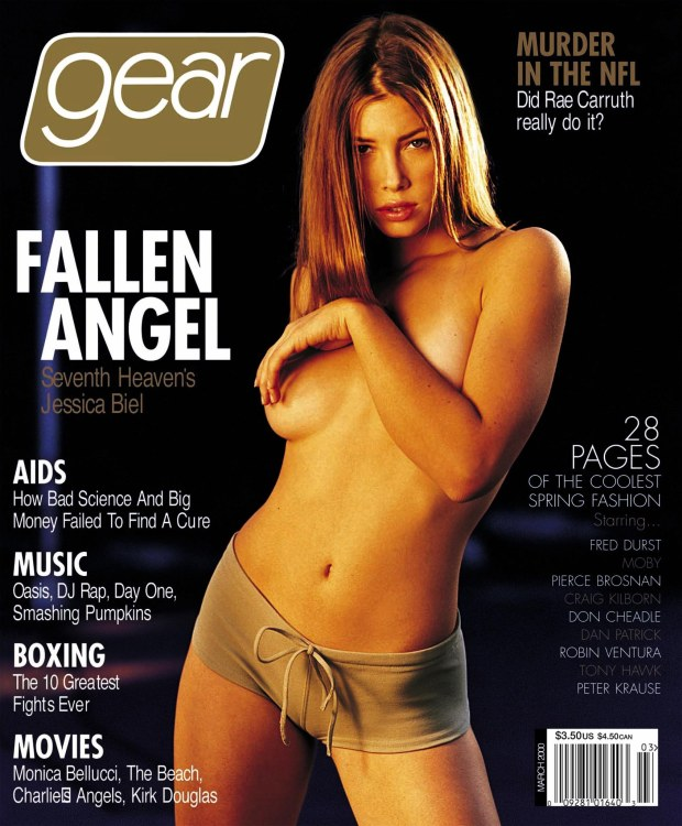 "LAB12:BIEL:LOS ANGELES,CALIFORNIA,17FEB00 - UNDATED PUBLICITY PHOTOGRAPH - Actress Jessica Biel, 17, who stars in the family oriented WB's television series ""7th Heaven"",  is shown in this undated publicity photograph as Biel bares almost all in a semi-nude cover and photo spread in the March 2000 issue of Gear magazine. Biel is set to star opposite Freddie Prinze Jr. in Warner Bros.' ""Summer Catch"". In an ironic twist, news of the casting comes on the heels of a $100 million lawsuit filed February 15 by ""7th Heaven"" producer Aaron Spelling, who claims the magazine defamed him by alleging that he had prevented her from securing film work. fsp/Photo Courtesy GEAR Magazine REUTERS"