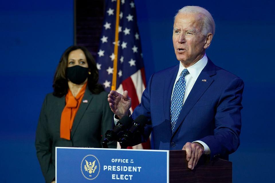 09.11.2020, Wilmington w stanie Delaware. Prezydent elekt Joe Biden i przyszła wiceprezydentka Kamala Harris