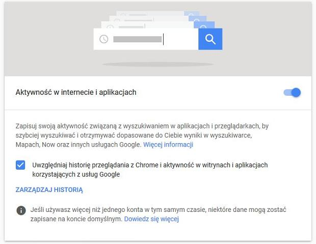 Ustawienia zapisu aktywności użytkownika w Google
