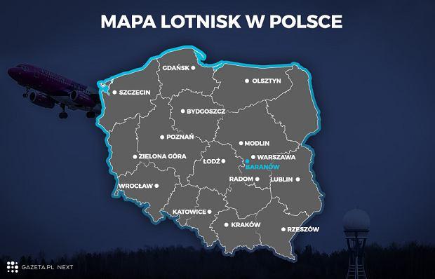 Lokalizacja lotnisk w Polsce. Baranów - gmina, w której planowana jest budowa CPK