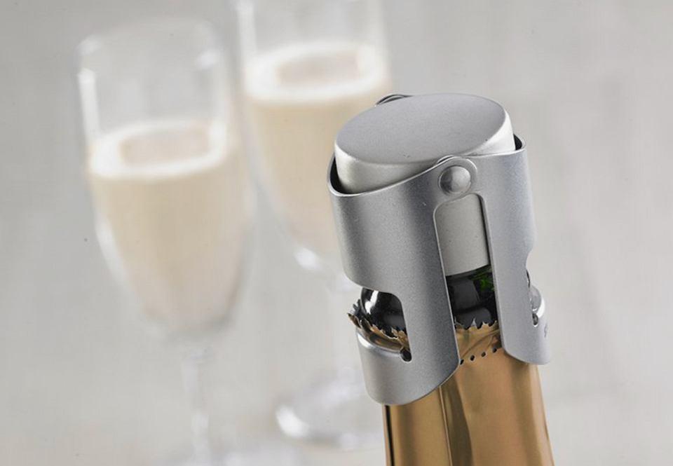 Nowoczesny korek do wina i szampana ze stali nierdzewnej.