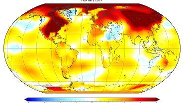 Anomalia temperatury lutego 2017 r. w porównaniu z lutową średnią z lat 1951-80