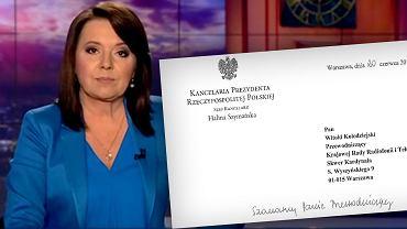 Pismo, które Kancelaria Prezydenta wysłała do TVP