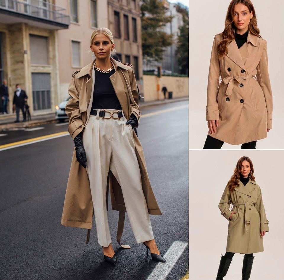 Stylizacje z beżowymi płaszczami
