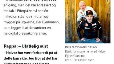 Halvor Egner Granerud i Steinar Bjerkmann, screen z nrk.no